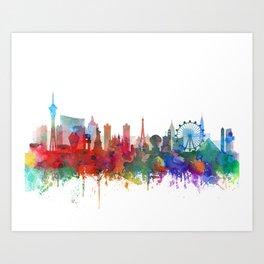 Las Vegas skyline Watercolor by Zouzounio Art Art Print