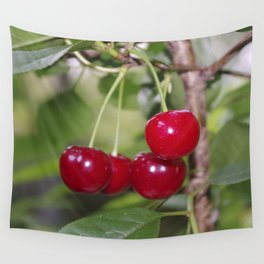 Cherries, fresh on the tree Wall Tapestry