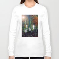 kodama Long Sleeve T-shirts featuring Kodama under the tree by pkarnold + The Cult Print Shop