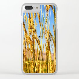 Dragonfly in tall dry grass Clear iPhone Case