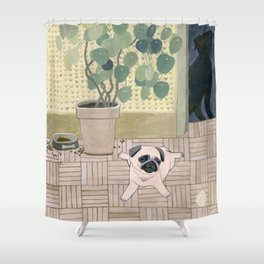 Pug Puppy Playing Shower Curtain