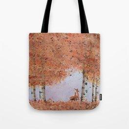 Autumn Birch Fox Tote Bag