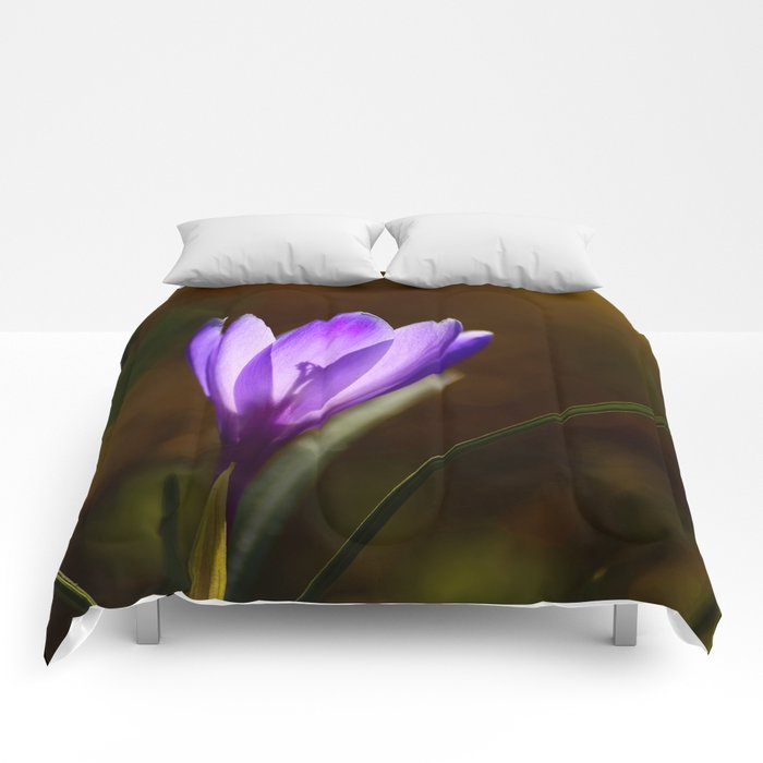 Bright Purple Spring Crocus Comforters