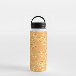 Orange Floral Pattern Water Bottle