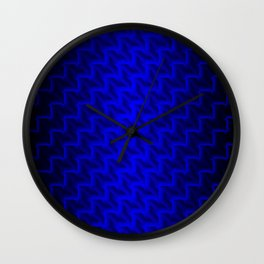 Glowing wicker pattern of blue squares and rhombuses with volumetric triangles. Wall Clock