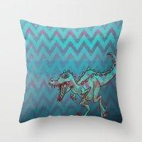 dino Throw Pillows featuring dino  by Bunny Noir