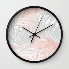 Pink and gray minimalist leaf Wall Clock