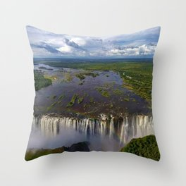 Victoria Falls with Rainbow, Zambia and Zimbabwe, Africa Throw Pillow