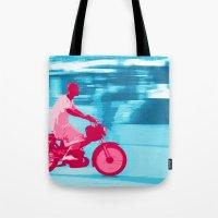 motorbike Tote Bags featuring Motorbike Guy by Sergio Silva Santos