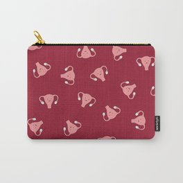 Crazy Happy Uterus in Red, Large Carry-All Pouch