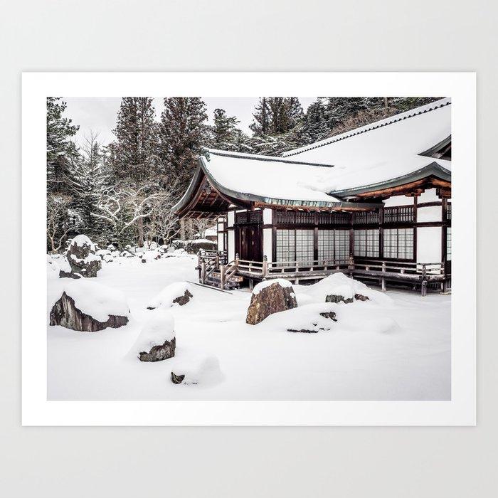 Japanese Buddhist Temple in Snow Art Print