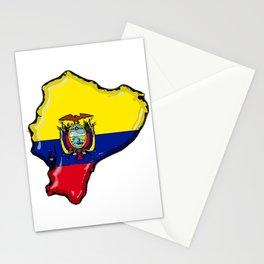 Ecuador Map with Ecuadorian Flag Stationery Cards