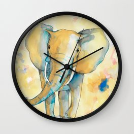 Water Color Elephant Colorful Wall Clock