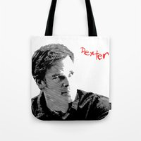 dexter Tote Bags featuring Dexter by Crazy Thoom