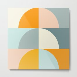 Summer Evening Geometric Shapes in Soft Blue and Orange Metal Print
