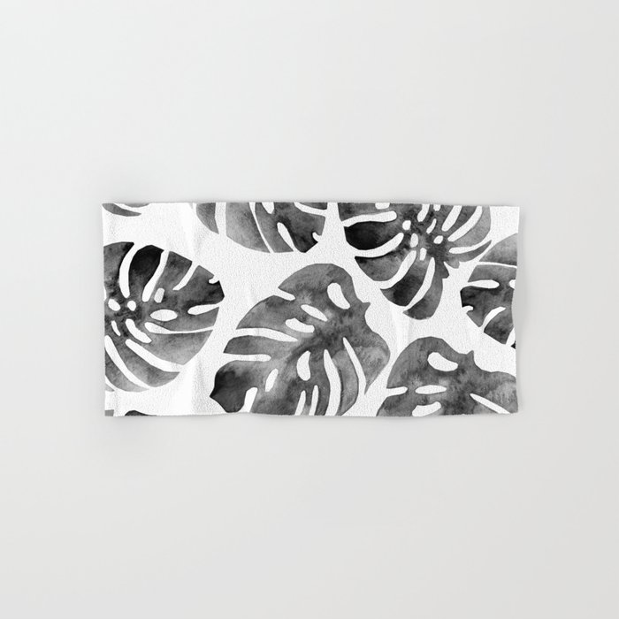 Monstera Black Hand & Bath Towel