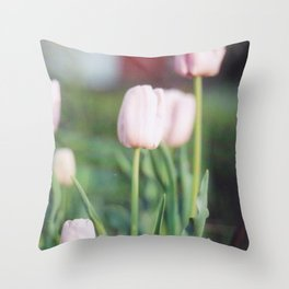 Soft Abstract Pink Tulips in Spring Film Photography Throw Pillow