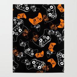 Video Game Orange on Black Poster