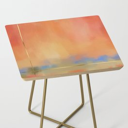 Abstract Landscape With Golden Lines Painting Side Table