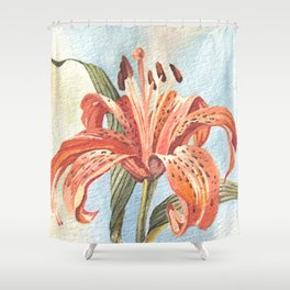 Orange Tiger Lily Watercolor Painting Shower Curtain