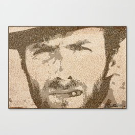 Text Portrait of Clint Eastwood (Blondie) with full script of The Good, The Bad and The Ugly Canvas Print