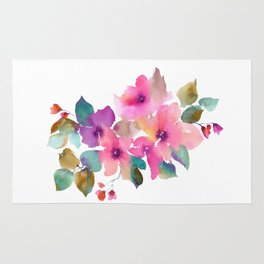 Lovely pink flowers. Watercolor florals Rug