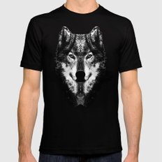The Black Forest Wolf Black Mens Fitted Tee MEDIUM