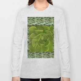 COLLAGE GRAY-GREEN  SUCCULENTS  MODERN DESIGN Long Sleeve T-shirt