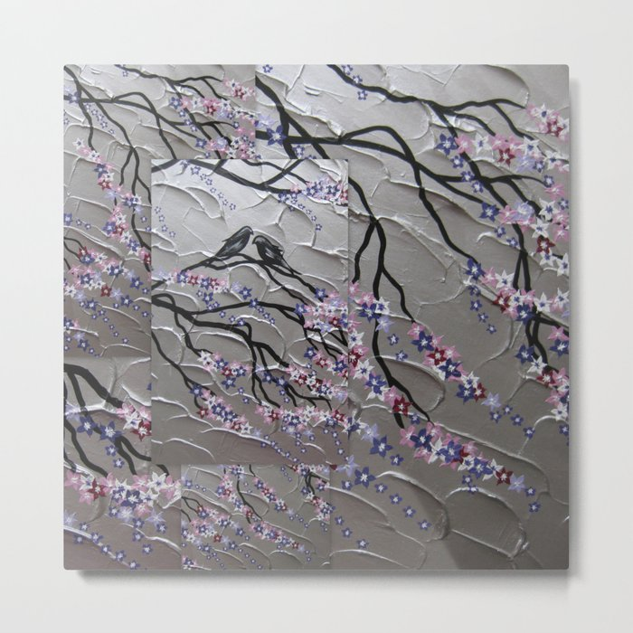 Cherry Blossoms and Birds in the Breeze Metal Print