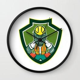 Angry Gorilla Construction Worker Shield Cartoon Wall Clock