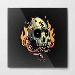 Skull Fire Metal Print