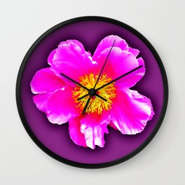 Pink flower on a wintry background Wall Clock