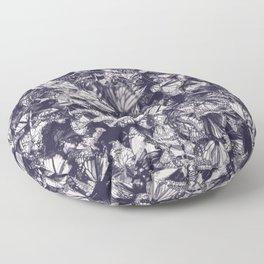 Indigo butterfly photograph duo tone blue and cream Floor Pillow