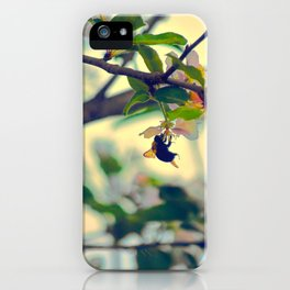 Bumble Bee Pollinating Apple Tree iPhone Case