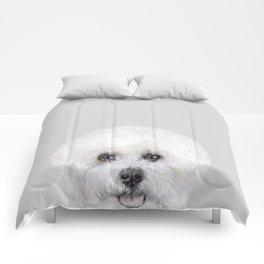 Bichon illustration, Dog illustration original painting print Comforters
