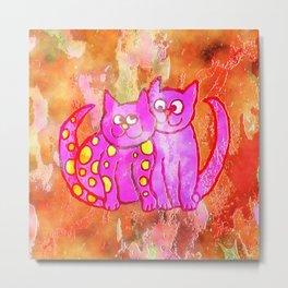 Watercolour Love Cats Metal Print