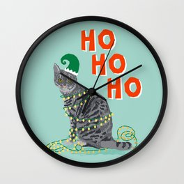 Tabby Grey Cat elf costume christmas funny cat lady gift idea for cat person humorous cat gift Wall Clock