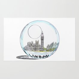 London painted in pastel colours in a glass bowl Rug