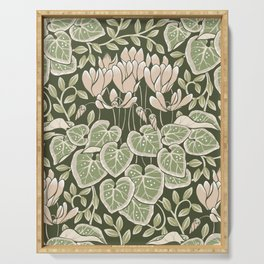 Cyclamen Art & Crafts Movement Style Design Serving Tray