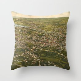 Vintage Pictorial Map of Stamford CT (1883) Throw Pillow