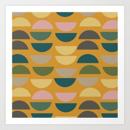 Geometric Graphic Design Shapes Pattern in Mustard Yellow Art Print