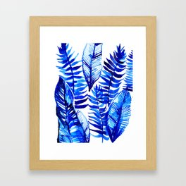 Jungle Leaves & Ferns in Blue Framed Art Print