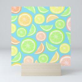 Mixed Citrus - blue Mini Art Print