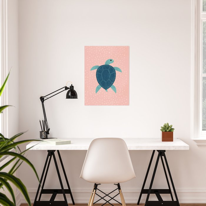 Smiling Sea Turtle Poster