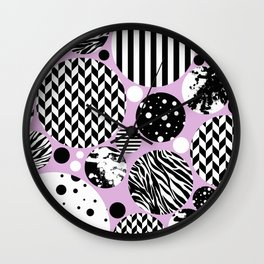 Eclectic Black And White Circles On Pastel Pink Wall Clock
