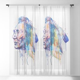 Sioux Warrior Watercolor Sheer Curtain