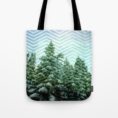 Snowy Chevron Tote Bag