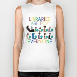 Rainbow Libraries Are For Everyone: Globes Biker Tank