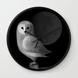 Barn Owl Full Moon Wall Clock