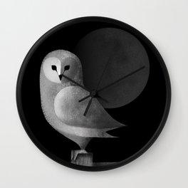 Barn Owl Full Moon Wall Clock